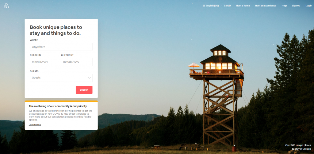 AirBnB Home Page Above the Fold Design