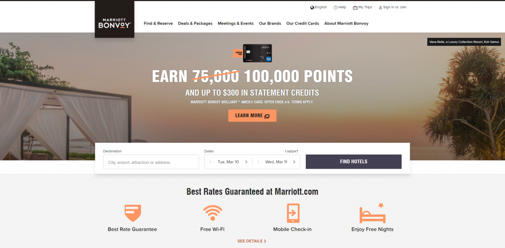 Marriott Home Page Above the Fold Design
