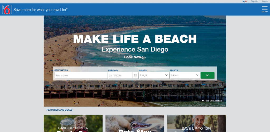 Motel 6 Home Page Above the Fold Design
