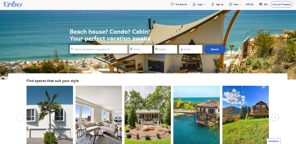 VRBO Home Page Above the Fold Design